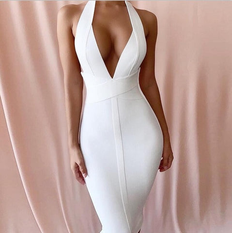 White Bandage Arrivals Deep v Neck Sexy Bodycon Dress