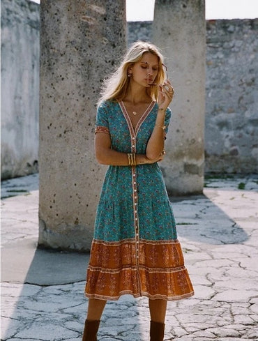 Boho Loose Style Folk Floral Print Tropical Holiday Beach Dress