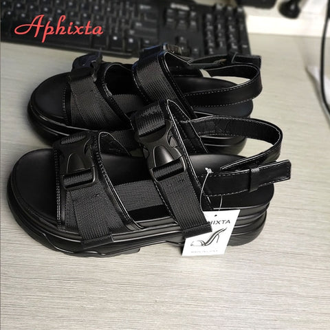 Sandals Wedge Heels Shoes Height Increaming Buckle Thick