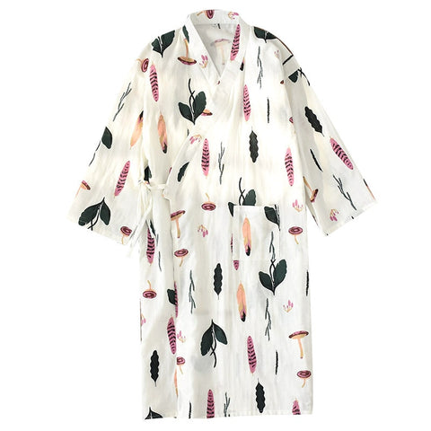 Kimono Bathrobe Gauze Nightgown Full Cotton Long Sleeve Robe Lovely Pajamas