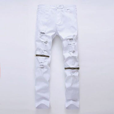 White Ripped With Holes Super Skinny Famous Designer Brand Slim Fit Jeans