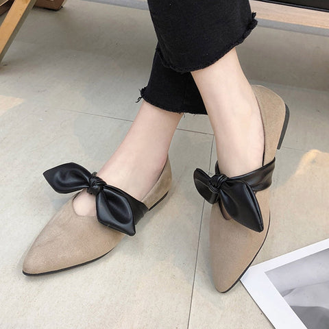 Luxury Cover Heel Shallow Toe Bow Candy Color Slip On Ballet Flats Shoes