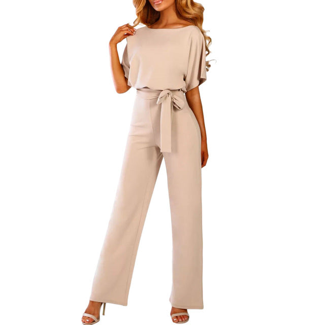 Rompers Jumpsuit Overalls Elegant Office Style Short Sleeve