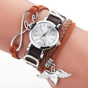 Luxury Silver Heart Pendant Leather Belt Quartz Clock Ladies Wrist Watch