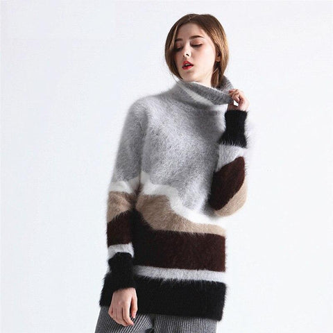 Angora Turtleneck Knitted Pullovers Jumper Sweater