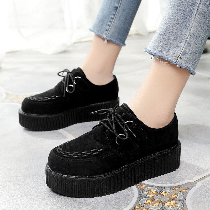 Creepers Shoes Large Size Flat Platform Shoes Lace-Up Round Toe