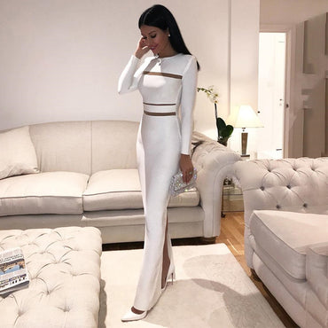 Celebrity Party White Long Sleeve O-Neck Sexy maxi Dress