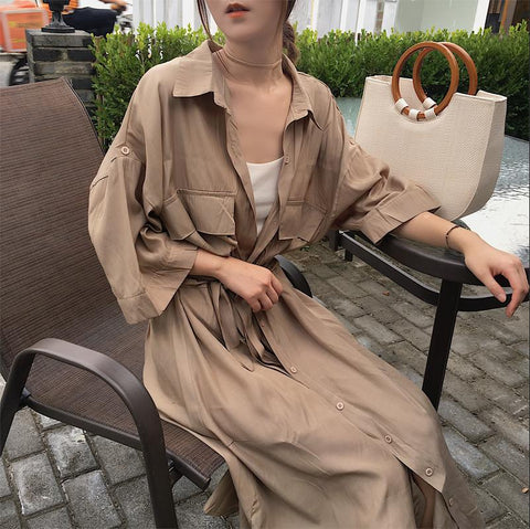 cardigan pocket half Sleeve Brown Oversize Collar Buttons Long Shirt Dresses