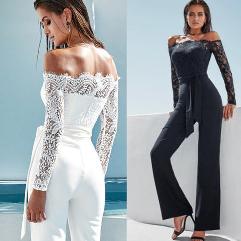 Off-Shoulder Long Sleeve Playsuit Party Jumpsuit Casual Solid Bandage