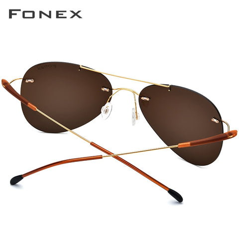 Rimless Ultralight Screwless Pilot Aviation Polarized Sun Glasses