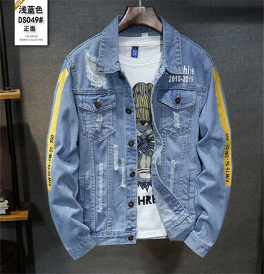 High quality Denim Ripped Holes Blue Jean Jackets