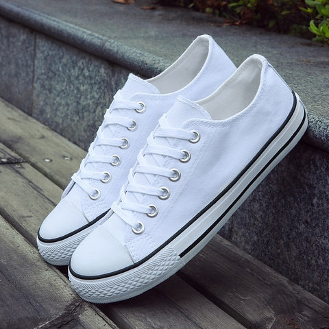 Fashionable Youth Casual Unisex White Breathable Walking Canvas Shoes