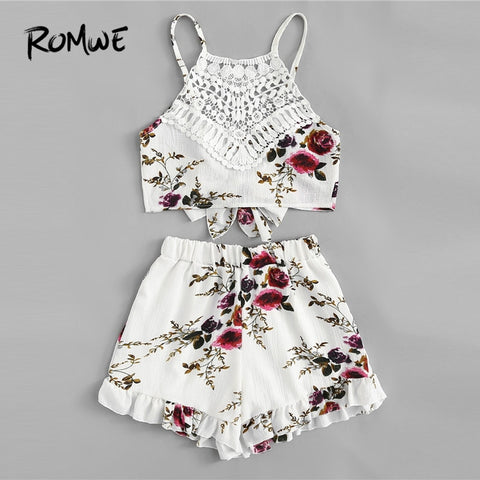 Lace Panel Floral Print Frill Cami Top With Shorts Boho