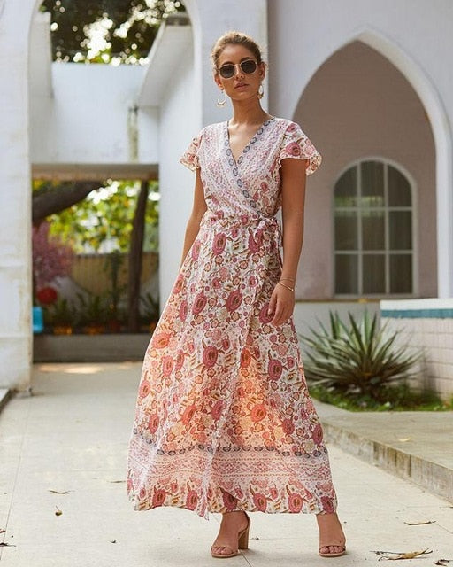 Sexy V-neck Split Floral Maxi Dress Boho