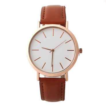 Fashion Rose Gold Minimalism Simple Leather Band Quartz Analog Wrist Watch
