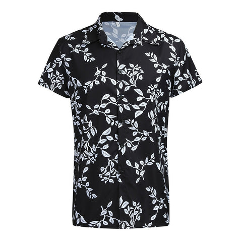 Black Slim Printed Clothing Brand Fashion Casual Short Sleeve Shirts
