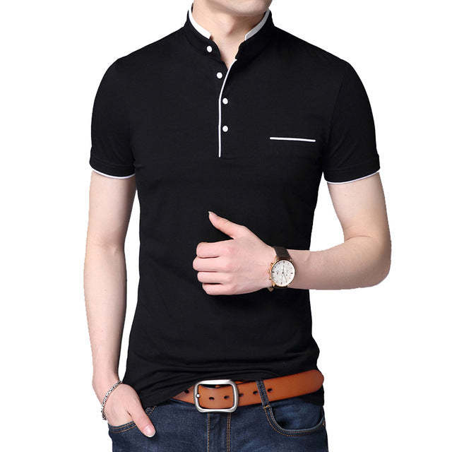 Fashion Short Sleeve Stand Collar Solid Slim Cotton Tops T-shirts