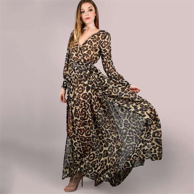 Leopard High Waist Long Sleeve V Neck Long Slim Dress
