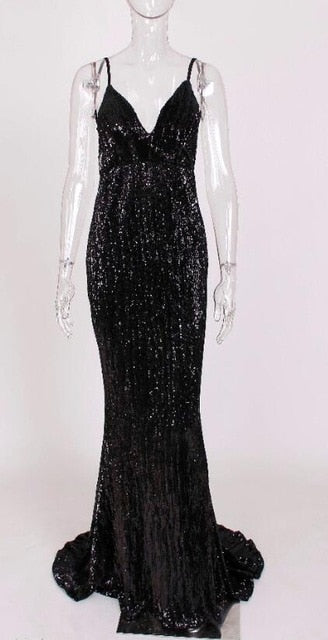Sexy Deep V Neck Shiny Sequined Maxi Long Floor Dress