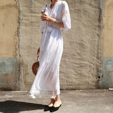 new white dress long maxi embroidery boho
