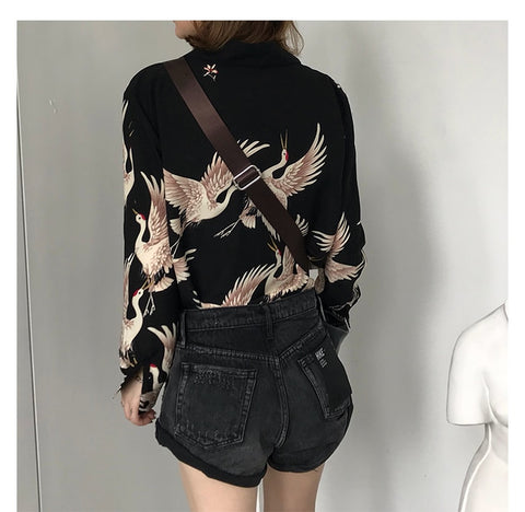 Vintage Printed Fashion Blouses Long Sleeve Shirts