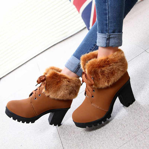 High heel fashion plush lace up keep warm new design boots