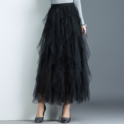 Long Maxi Black Pink High Waist Pleated Skirt