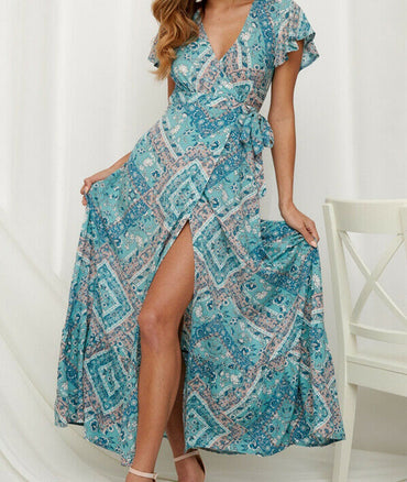 Boho Floral Long Maxi Beach Sundress Slim Dress