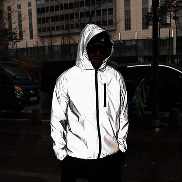 New night shiny full reflective hip-hop hooded jacket harajuku streetwear