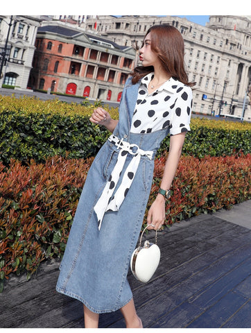 simple chiffon denim with sashes turn down collar short sleeve dresses