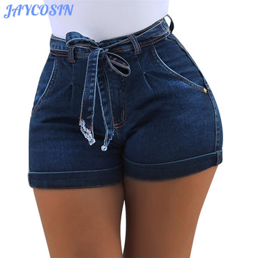 Waist High Elastic Denim Shorts Female Cotton Linen Hot Jeans Short