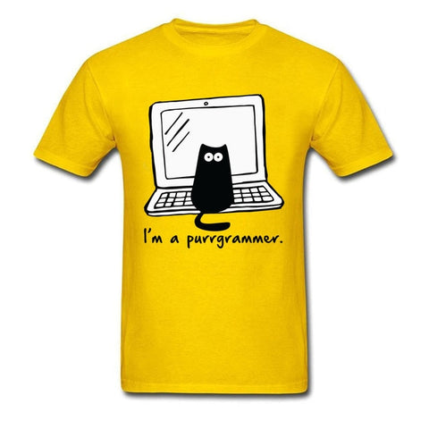 Purrgrammer Car Funny Cartoon Computer Cotton Classic Procedure Code Tops Shirts
