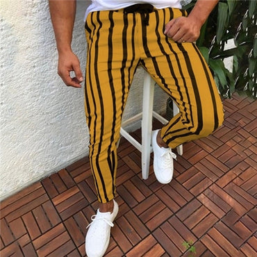 Skinny Slim Fit Bottom Stripe Casual High Pants With Pockets