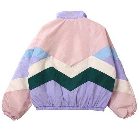 Pastel Bomber Cute Embroidery Color Block Duster Souvenir Jacket