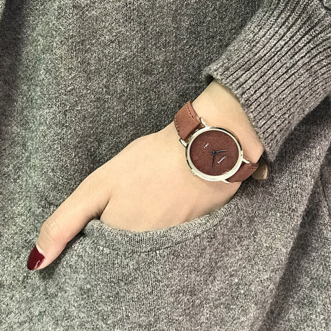 Fashion Casual Ladies Quartz Wrist Watch Brown Simple Retro Watches
