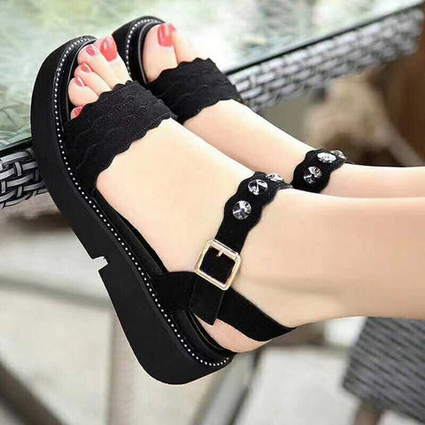 Black Sandals Open Toe Shoes Rhinestones Flat Shoes