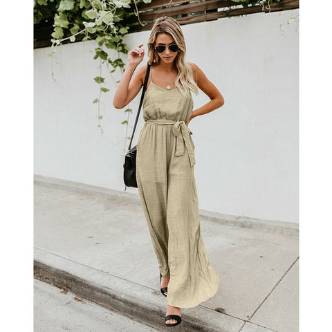 Holiday Romper Ladies Sleeveless Solid Casual Beach Party Loose Wide Leg Long Pant