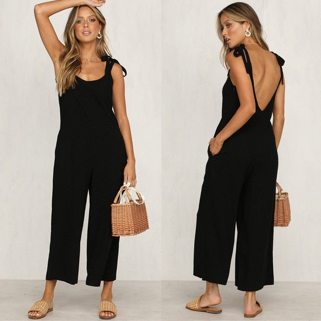 Casual Loose Linen Cotton Sleeveless Backless Playsuit Jumpsuits
