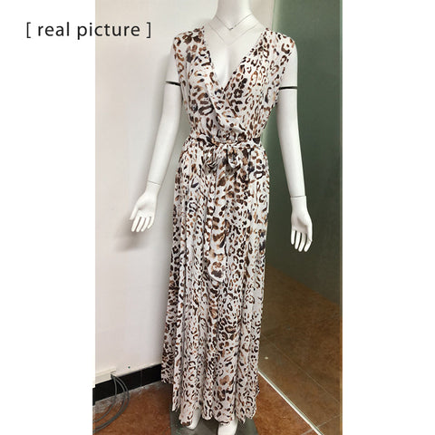 Long Leopard Maxi Boho Beach Sleeveless Bohemian Style Dresses