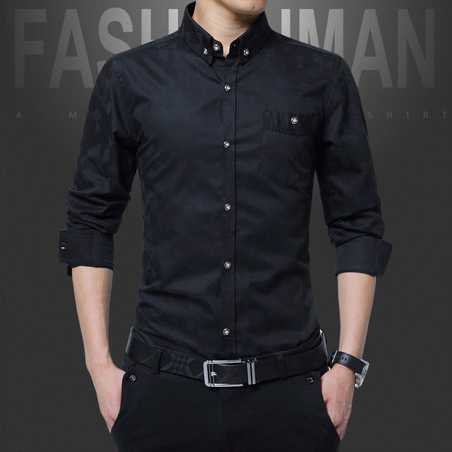 Cotton Smart Casual Shirt Long Sleeve Dress Shirts