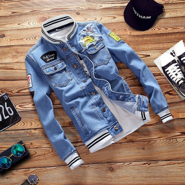 Solid Casual Slim Denim Jacket Bomber Jacket High Quality