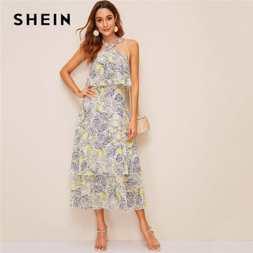 Lemon Print Layered Ruffle Hem Halter High Waist Long Boho Dresses