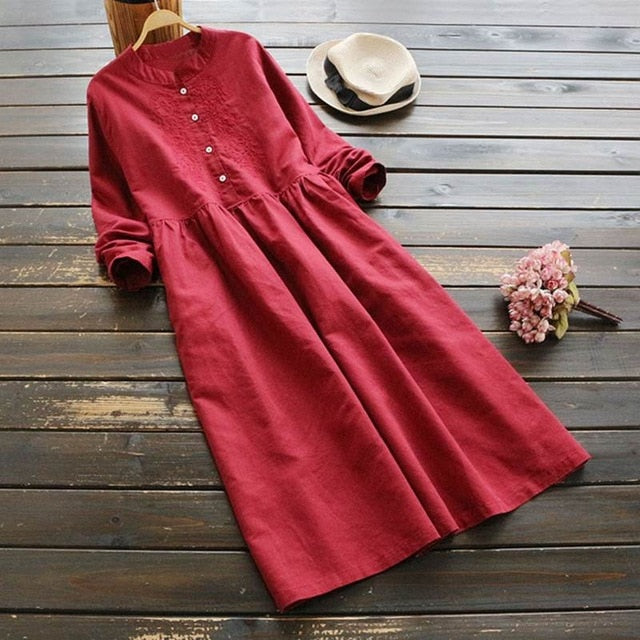 Elegant Solid Shirt Button Down Female Cotton Embroidery Vestido Midi Dresses