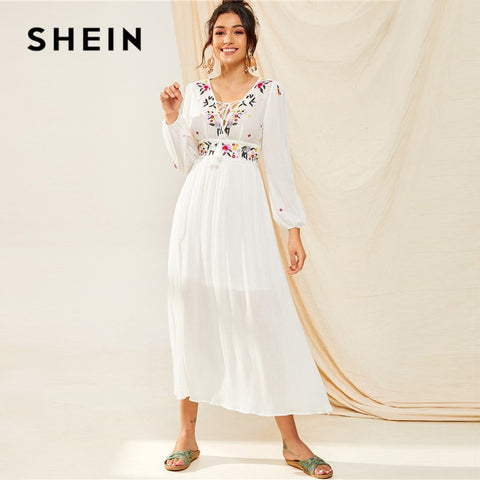 Tassel Trim Floral Embroidered White Boho V Neck Bishop Sleeve Maxi Dress