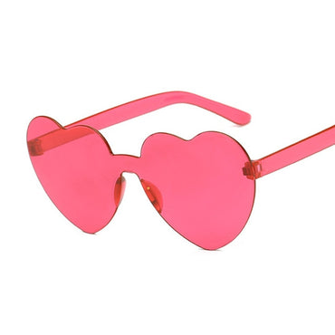 New One Piece Love Heart Lens Transparent Plastic Glasses