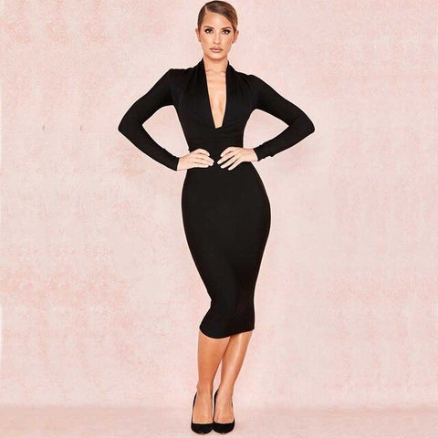 Black white red blue Long sleeve Deep V-neck Sexy Night club Dress