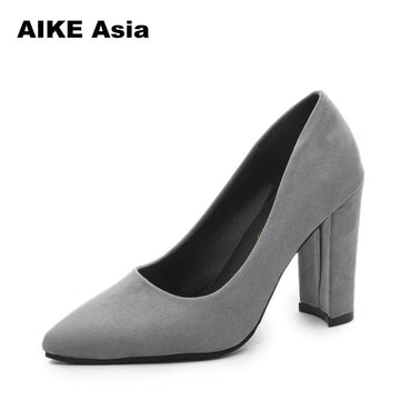Ankle Strap Thick Square Toe Mid Heels Dress Work Pumps Comfortable Heels