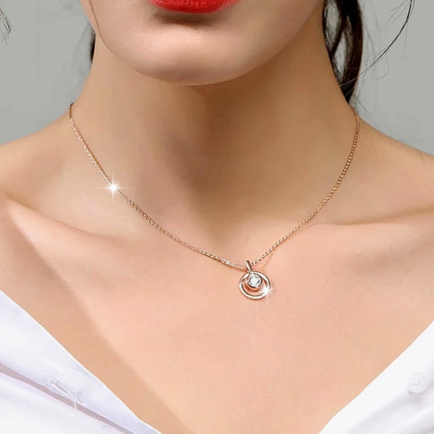Classic Circle Round Pendant Necklace With Cubic Zirconia