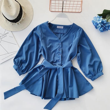 Fashion Clothing V Neck Blouse Ruffle Shirt