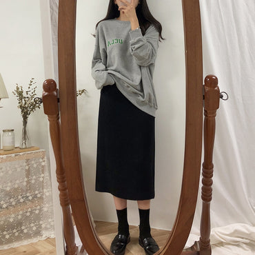 Solid Black Brown Mid Calf Vintage Straight Skirt